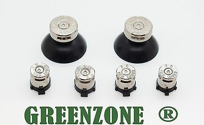 GREENZONE ® PS4 Controller Bullet Buttons & Silver TOP Thumbsticks Mod Kit