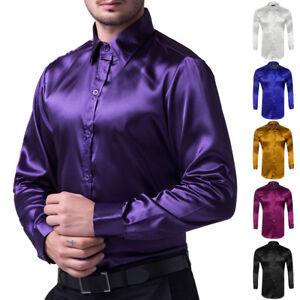 Formal-Men-Slim-Ball-Wedding-Silk-Like-Satin-Long-Sleeve-Dress-Shirts-TOPS-S-XL
