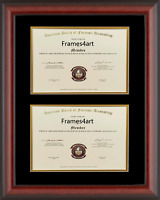 Double Diploma Matte Mahogany Black & Gold Double Matboard Mixed Size C50