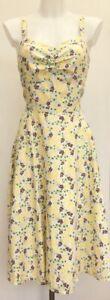 Laura-Ashley-White-Yellow-Green-Floral-Linen-Summer-Midi-Tea-Sun-Dress-Fit-12-14