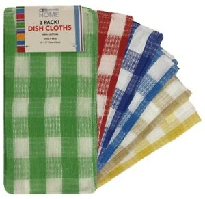 3-Pack-Kitchen-Dish-Cloths-100-Cotton-12-034-x-12-034-6-Colors-Brand-New-4613
