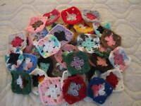 40-3 Granny Squares Blocks 4 Afghan, Afghans Assorted Handmade, Orlon Yarn