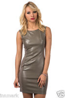 380 CLUBBING CLOSE-FITTING PARTY LEATHER LOOK BODYCON MINI KHAKI DRESS SIZE S M