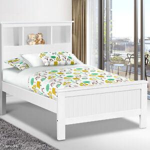Image Is Loading King Single Bed Frame Bookcase Shelf Bedhead Wooden