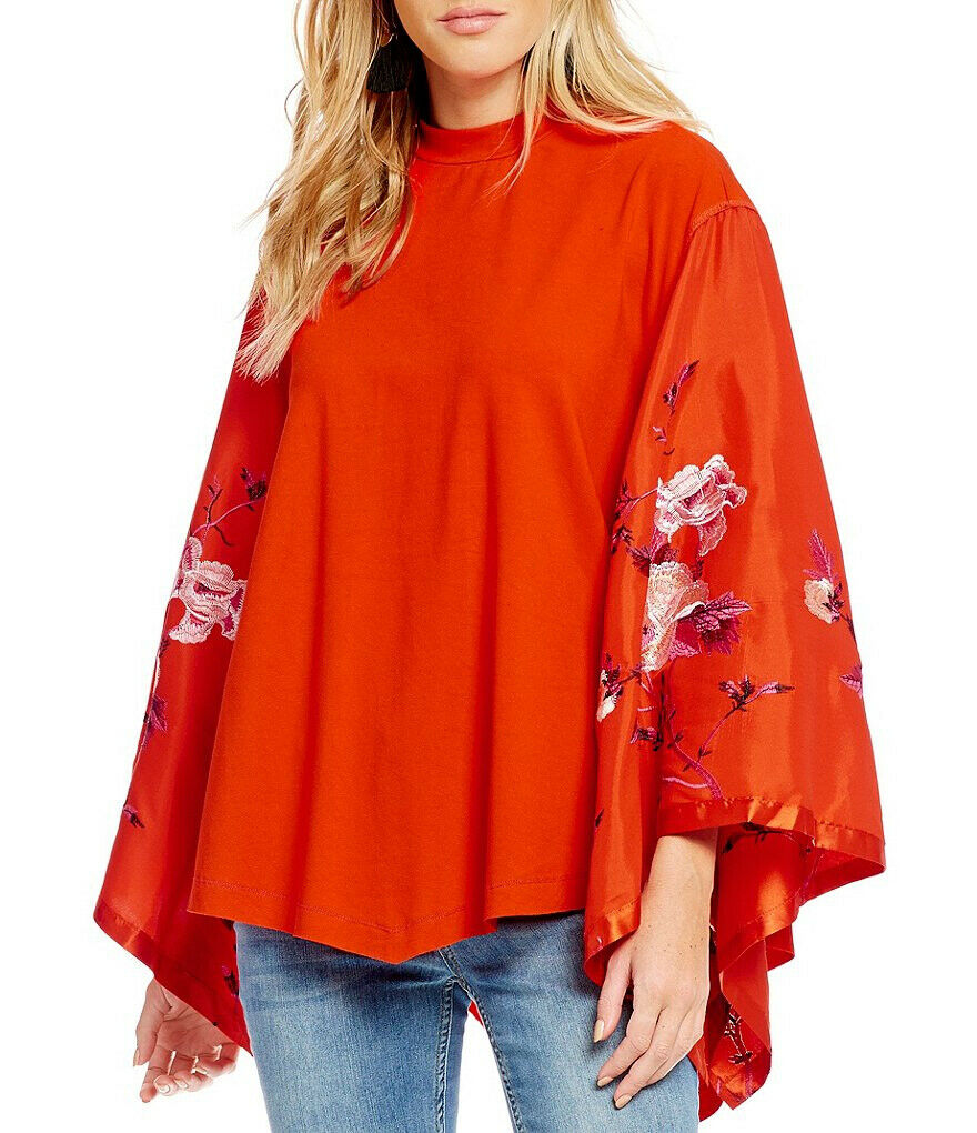 Free People Womens Sydneys Tuesday OB676488 Top Relaxed Fire orange Red Size XS