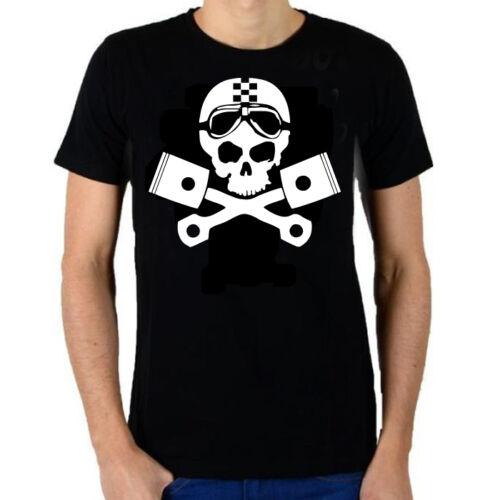 """V1 Tee-shirt noir /""""Moto Tête de mort avec pistons/"""" Taille S,M,L,XL,2XL"""
