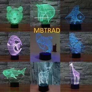 3D illusion Visual Night Light Color Changing LED Desk Table Lamp Bedroom Decor