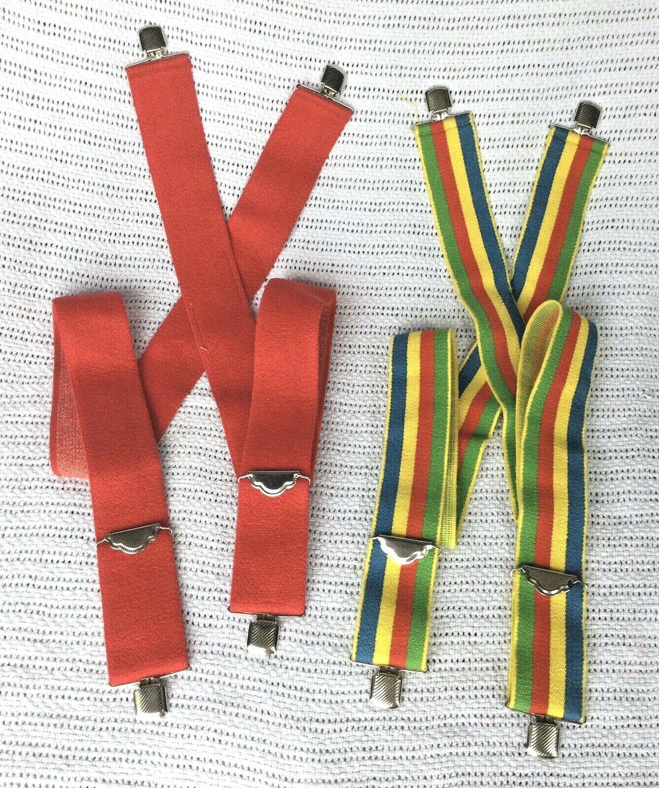 "2pr 70s Vintage Suspenders RED & RAINBOW STRIPED Adjustable NOS Plush 2"" Wide"