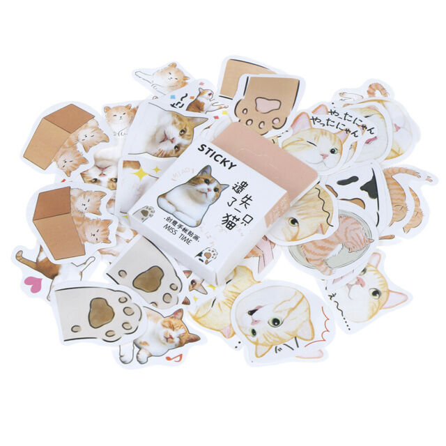 46pcs/box Lose Cat DIY Stationary Stickers Paper Lables Gifts Packaging DecorHQ