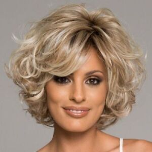 Fashion Blonde Mix Short Curly Wavy Women s Lady s Hair Wig Full ... 82e61bff19