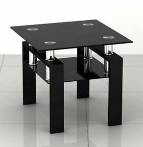 Black Glass Square Coffee Side Lamp Table With Black Red Or White Legs Ebay