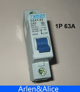 1P 63A 230/400v~ 50HZ/60HZ Mini Circuit breaker MCB C45 C TYPE