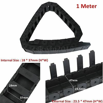 """1M 1000mm 40"""" Black Long Nylon Cable Drag Chain Wire Carrier R38 18mm x 37mm"""