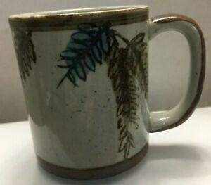 Vintage-Stoneware-Speckled-Coffee-Mug-Grey-Brown-Blue-Leaves