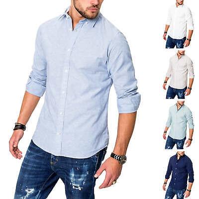Jack & Jones Uomo Lino Camicia Manica Lunga Camicia Uomo Camicia Camicia Business-mostra Il Titolo Originale Eccellente (In) Qualità