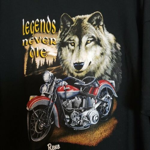 Black T-Shirt Legends Never Die Motorcycle & Wulf