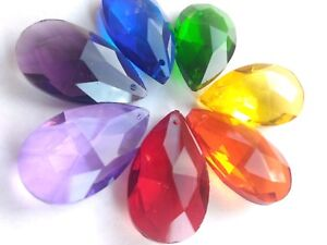 7 Assorted Rainbow Color 50mm Teardrop Chandelier Crystals Prisms Pendants