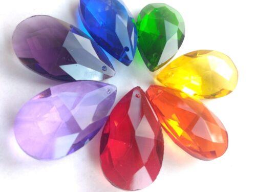 7 Assorted Rainbow Color 38mm Teardrop Chandelier Crystals Prisms Pendants