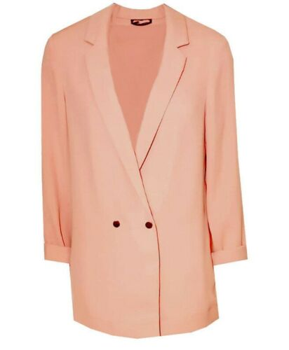 TopShop Blazer Soft Double Breasted Blazer Roll Sleeve Salmon Pink Blush RRP £46