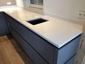 Details zu weiße Küchenarbeitsplatte HOCHGLANZ Küchenplatte Arbeitsplatte  Steinplatte Quarz