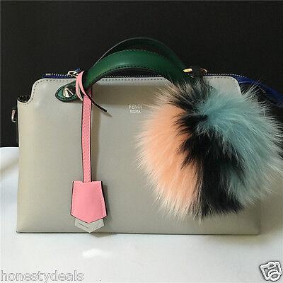 "13cm// 5/"" Tricolor Real Fox Fur Pom Pom Ball bag charm keychain"
