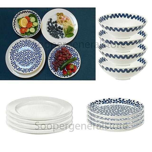 Dinnerware Stoneware Plate Bowl Sideplate White Blue Patterned 12 Pc Dinner  Set