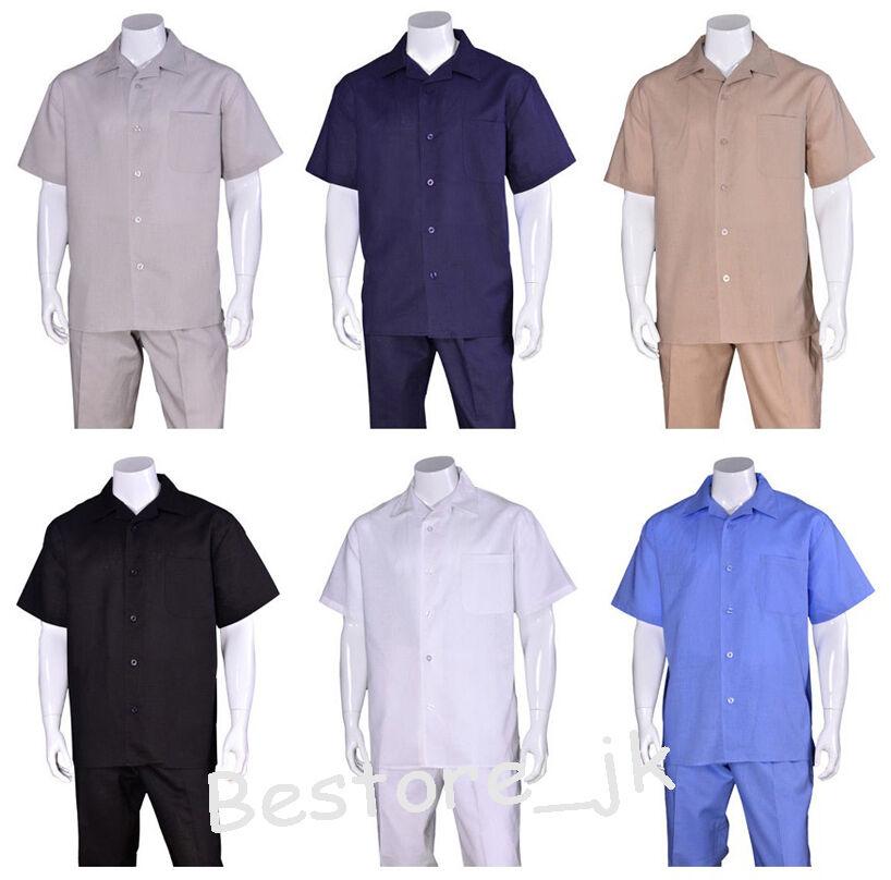 Men's 2pc Casual Walking Suit Linen Short Sleeve Shirt w  Pants Set