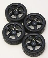 R/C 5 Spoke Black 1/10 Scale Rims and Tires RC Car Pre-Glued !  4 Tec ect.