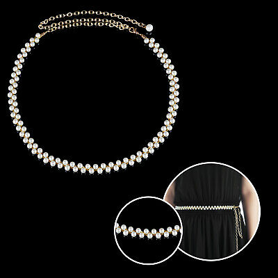 Women Pearl Waist Chain Belt Fashion Adjustable Gold Row Girl Charm Waistband