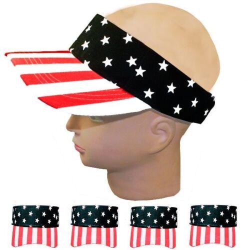 US American Flag Stars and Stripes Patriotic Cotton Visor Unisex Adult BLACK
