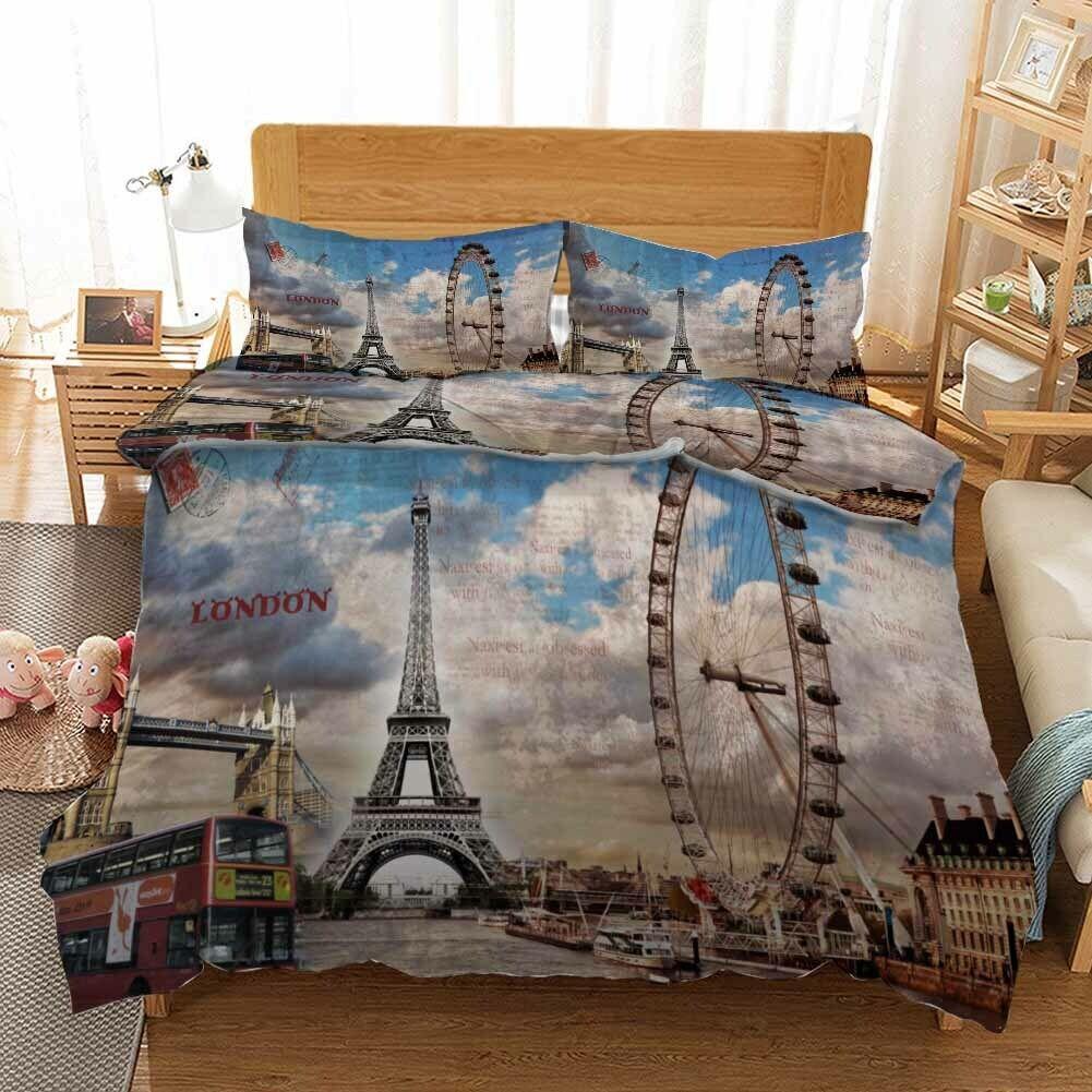 Tower Ferris Wheel 3D Druckening Duvet Quilt Will Startseites Pillow Case Christmas