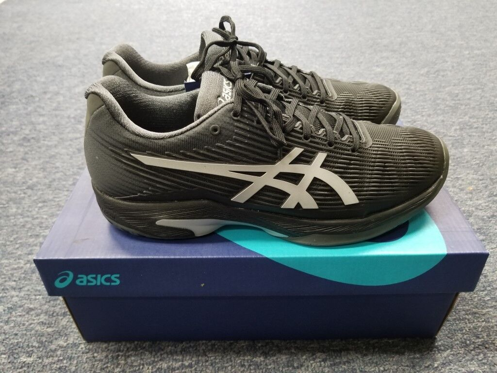 Men's Asics Solution Speed FF Tennis shoes Black Silver Size 13