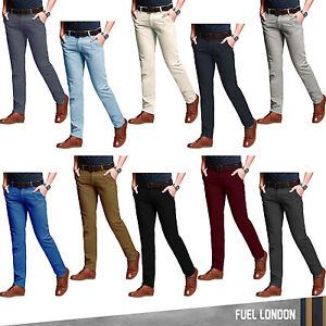 Mens-Chino-Trousers-Stallion-Slim-Fit-Cotton-Jeans-Pants-Designer-Khakis-New-all