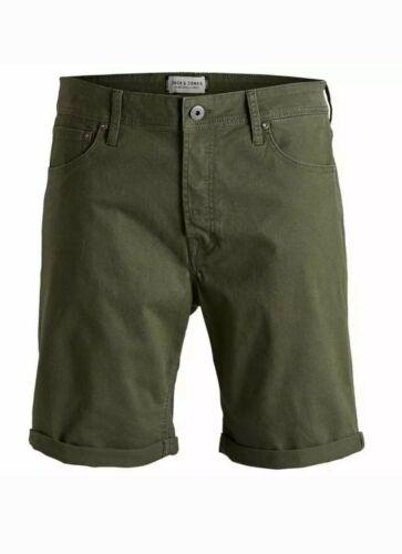 Men/'s Jack /& Jones Rick Denim Shorts Olive Night Size M