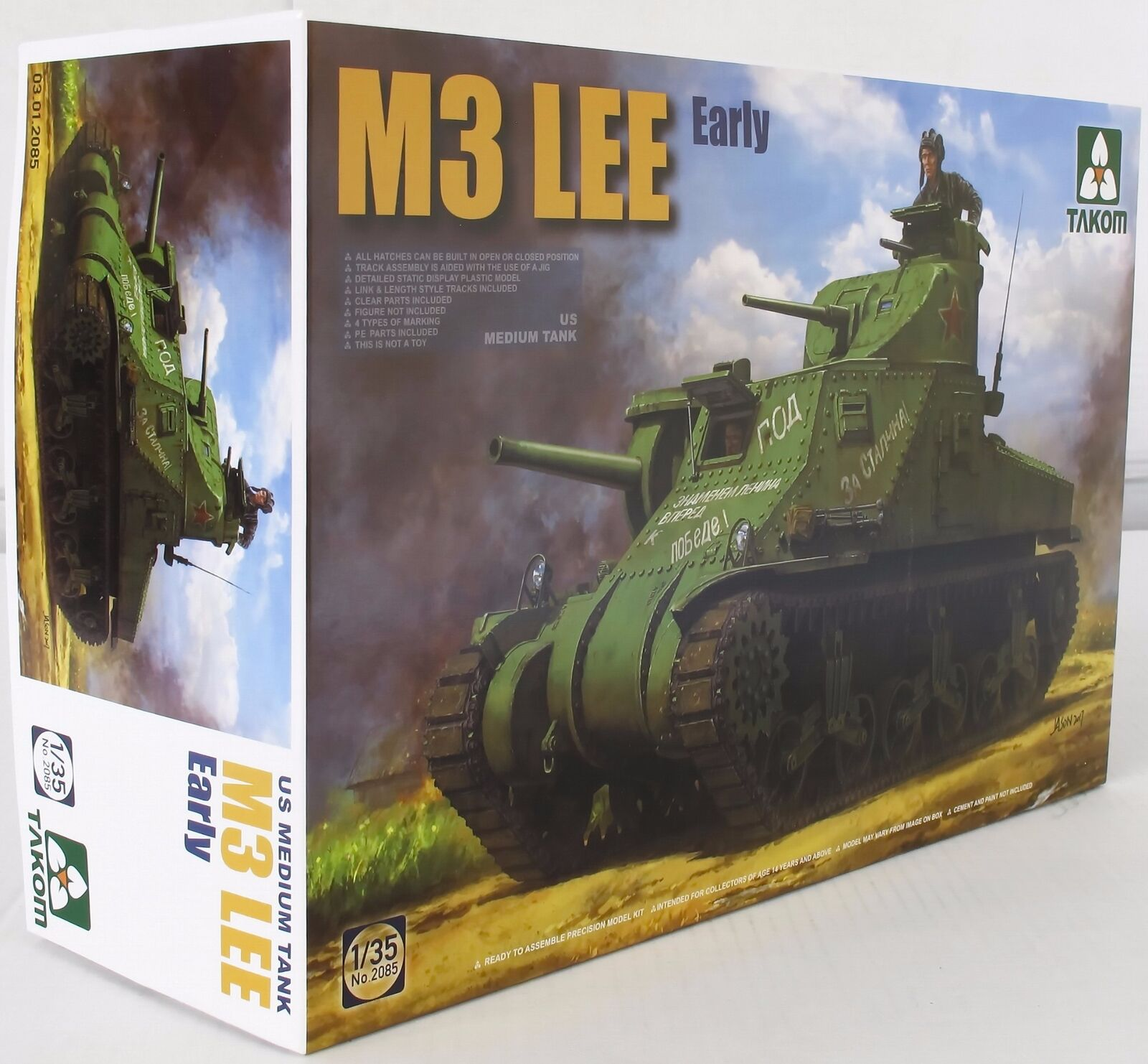 Takom 1 35 02085 M3 Lee US Medium Tank Early Model Military Kit