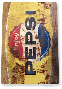 TIN-SIGN-Pepsi-Rusty-Retro-Metal-Decor-Wall-Art-Soda-Store-Shop-A564