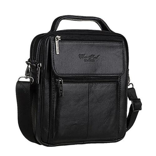 Men/'s Genuine Leather Business Messenger Shoulder Bag Black//Coffee Tote Handbag