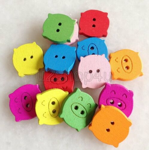 100pcs Mixed Color Pig 2 Holes Wooden Buttons Fit Sewing and Scrapbooking Unk200