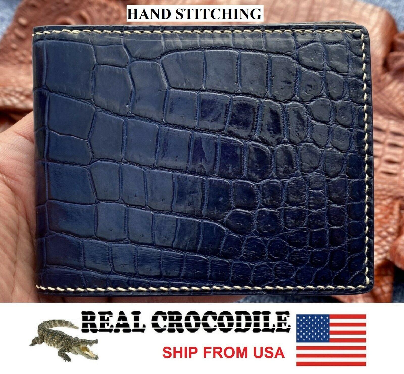 Blue Leather Men Wallet Bifold Genuine Alligator Crocodile Skin Exotic Animal