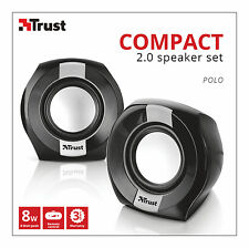 NEW TRUST 20943 POLO 2.0 8W MAX 4W RMS USB POWERED SPEAKER SET FOR PC LAPTOP ETC