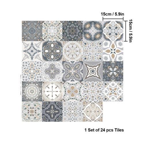 24X Kitchen Tile Stickers Bathroom Mosaic Sticker Self-adhesive Wall Decal Decor