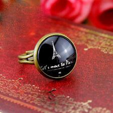 Art Deco vintage retro style Eiffel tower adjustable ring