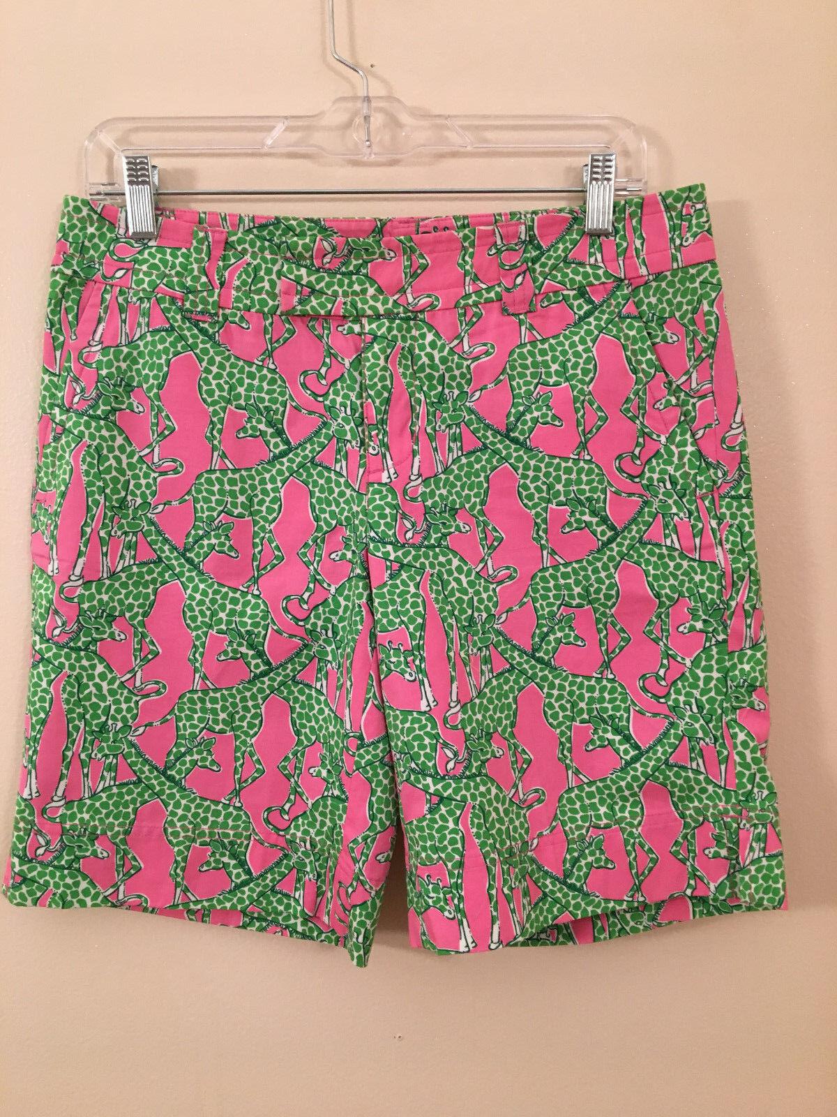 Pink Green LILLY PULITZER Giraffe Print PALM BEACH FIT Summer Bermuda Shorts - 4