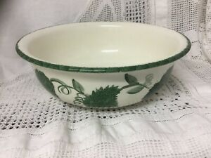 Vintage-Poole-Pottery-Fruit-Bowl-Hand-Painted-Green-Leaf-Design-9-Dia-3-Deep