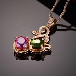 Silber-925-Halskette-Turmalin-Anhaenger-Schluesselbein-Kette-Damen-Schmuck-NEU