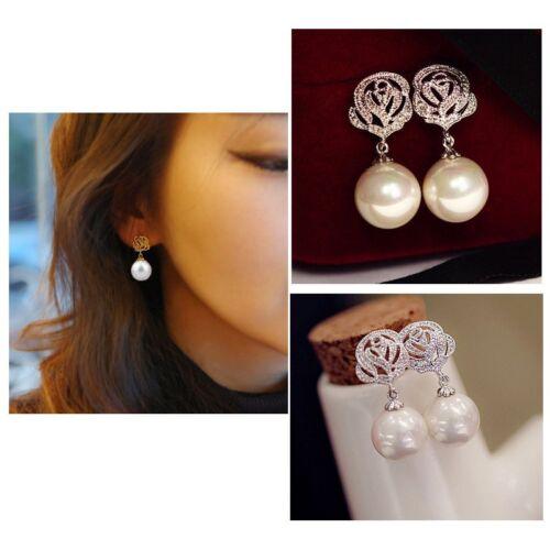 Luxury Crystal Pearl Rose Eardrop Drop Dangle Earrings Wedding Womens Jewelry