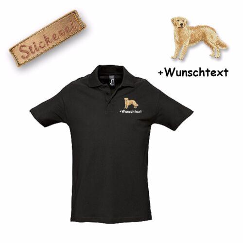 Polo Shirt Coton Brodé Broderie Golden Retriever Texte Personnalisé