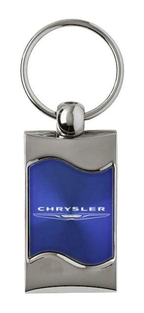 Premium Chrome Spun Wave Blue Chrysler Genuine Logo Emblem Key Chain Fob  Ring