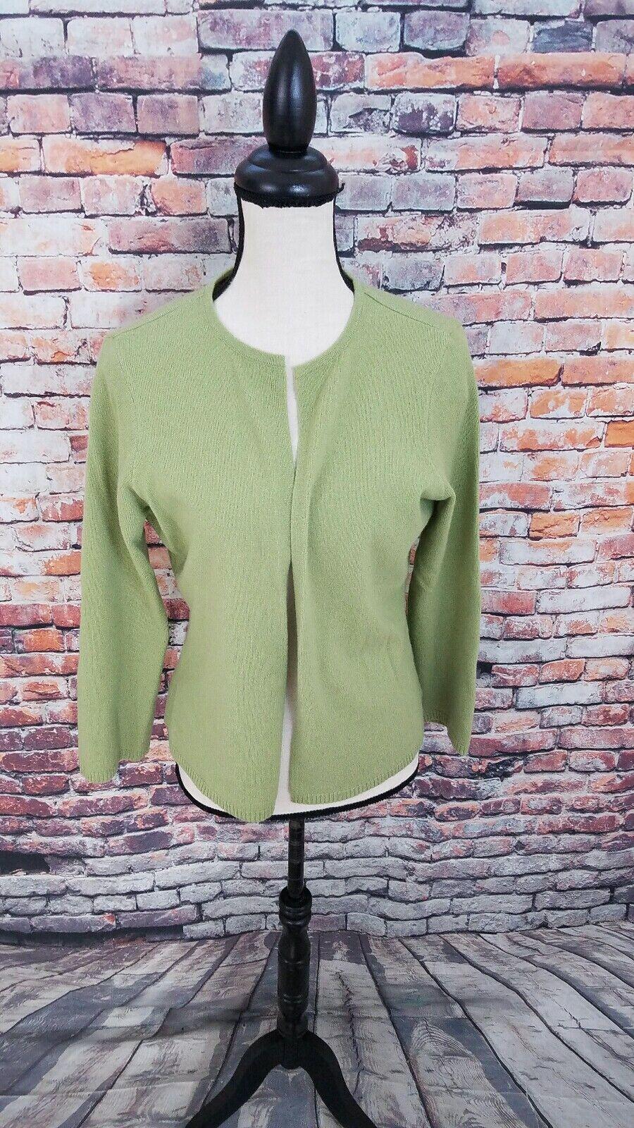 Andrea Jovine Women's Green Open Front 100% CASHMERE Cardigan Sweater Sz L EUC