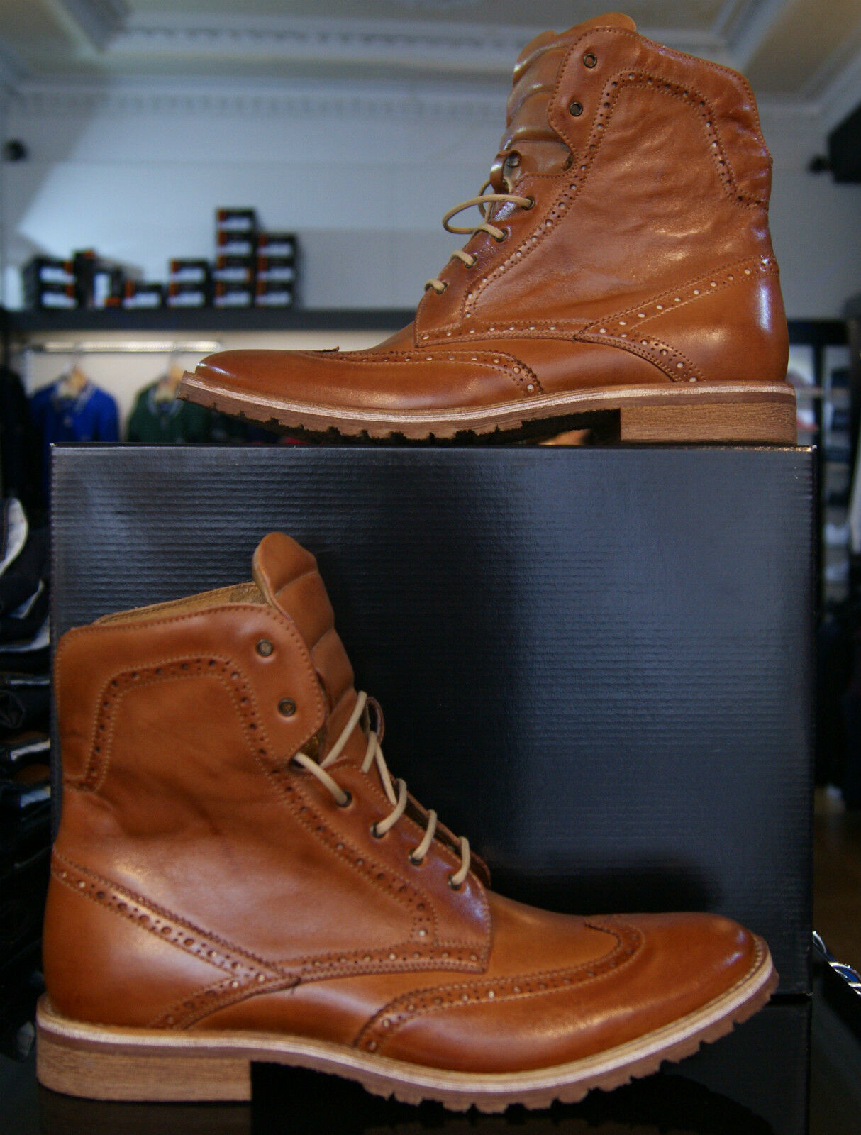 Mens Lacuzzo Designer Stylish Dress Casual Leather Designer Lacuzzo Winter Boots Lace Up In Brown 4e9be6